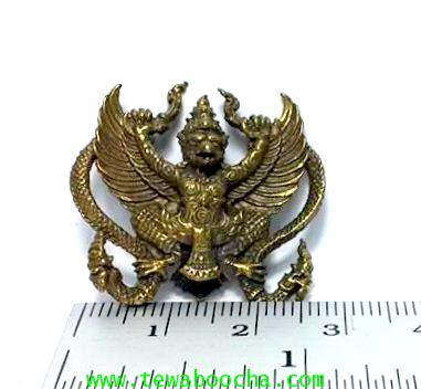 พญาครุฑยุทธนาคเสริมดวงการปกครองบริวารมีอำนาจเหนือคนเนื้อทองเหลืององค์เปล่าสูง2.5ซม.กว้าง2.5ซม. 3