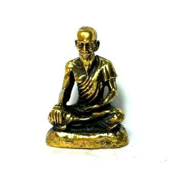 ปู่หมอชีวกโกมารภัจจ์ป้องกันความเจ็บป่วย องค์ลอยฐานเรียบเนื้อทองเหลืองสูง 2.3ซม.ฐาน1.5ซม.