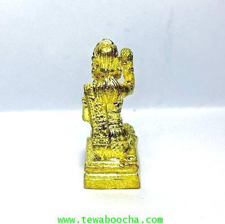 นางกวักมหาลาภจิ๋ว ถือถุงเงินมือขวากวักมือซ้ายนั่งแท่นเนื้อทองเหลืองชุบทอง สูง 2ซม.ฐาน 0.8 ซม. 2