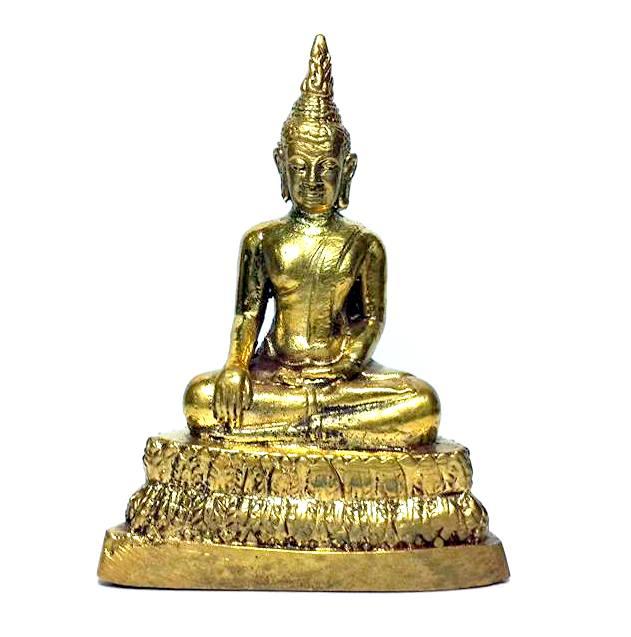 พระพุทธรูป ปางพิชิตมารหรือมารวิชัย:เนื้อทองเหลืององค์ตั้งหิ้งขนาดเล็กสูง 7ซม.ฐาน5ซม.