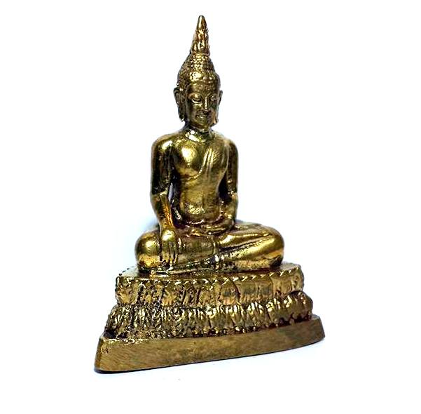 พระพุทธรูป ปางพิชิตมารหรือมารวิชัย:เนื้อทองเหลืององค์ตั้งหิ้งขนาดเล็กสูง 7ซม.ฐาน5ซม. 3