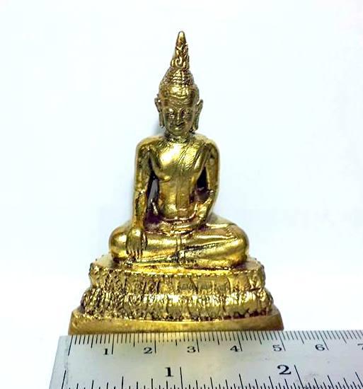 พระพุทธรูป ปางพิชิตมารหรือมารวิชัย:เนื้อทองเหลืององค์ตั้งหิ้งขนาดเล็กสูง 7ซม.ฐาน5ซม. 4