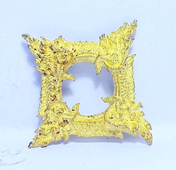 บ่วงนาคบาศก์งูกินงูขดนาค4องค์มตตามหานิยมให้โชคมีกินไม่หมดจัตตุรัศ2.5x2.5ซม.ทองเหลืองชุบทอง