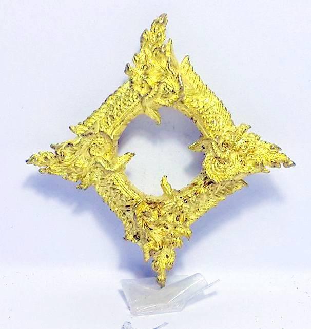 บ่วงนาคบาศก์งูกินงูขดนาค4องค์มตตามหานิยมให้โชคมีกินไม่หมดจัตตุรัศ2.5x2.5ซม.ทองเหลืองชุบทอง 1