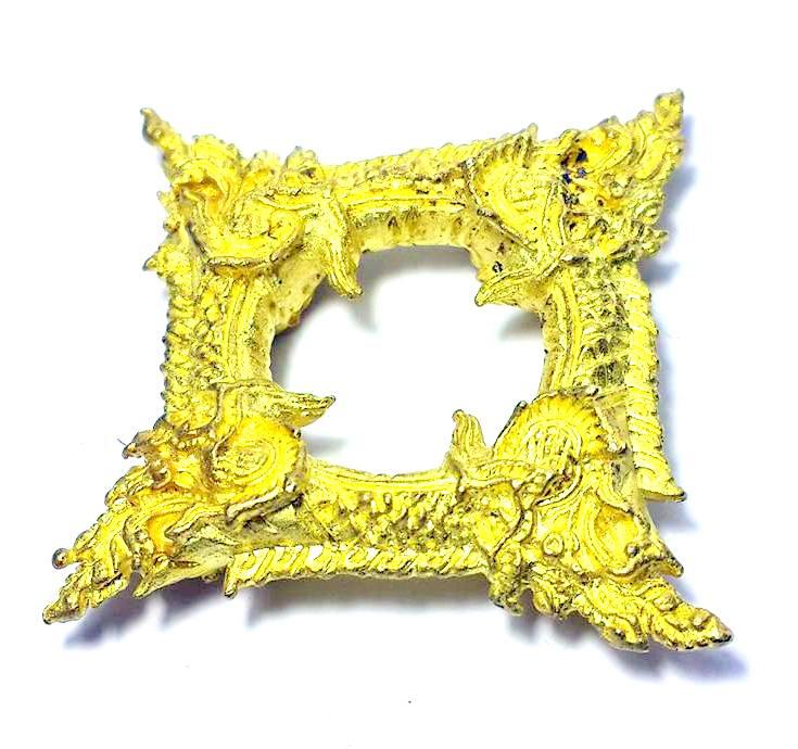 บ่วงนาคบาศก์งูกินงูขดนาค4องค์มตตามหานิยมให้โชคมีกินไม่หมดจัตตุรัศ2.5x2.5ซม.ทองเหลืองชุบทอง 2