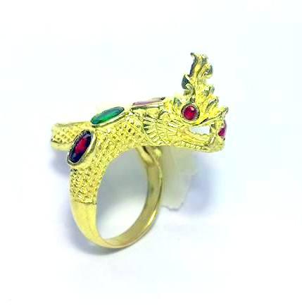 แหวนพญานาคราชชุบทองฝังพลอยเจ็ดสีฟรีไซด์ ปรับขนาดได้เสริมเสน่ห์เมตตา โชคลาภดี 1