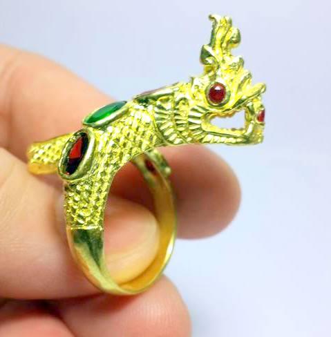 แหวนพญานาคราชชุบทองฝังพลอยเจ็ดสีฟรีไซด์ ปรับขนาดได้เสริมเสน่ห์เมตตา โชคลาภดี 4