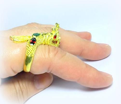 แหวนพญานาคราชชุบทองฝังพลอยเจ็ดสีฟรีไซด์ ปรับขนาดได้เสริมเสน่ห์เมตตา โชคลาภดี 7