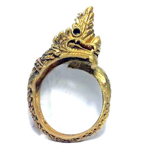 แหวนนาคราชเศียรเดี่ยว หางตวัดเมตตามหาเสน่ห์คุ้มภัยเรียกโชคลาภเนื้อทองเหลือง ฟรีไซด์ง้างได้