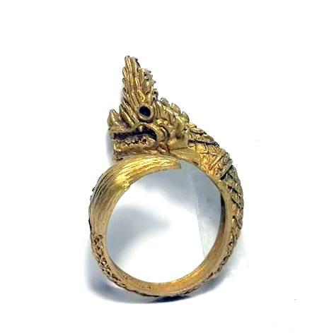 แหวนนาคราชเศียรเดี่ยว หางตวัดเมตตามหาเสน่ห์คุ้มภัยเรียกโชคลาภเนื้อทองเหลือง ฟรีไซด์ง้างได้ 1
