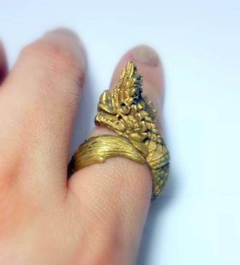 แหวนนาคราชเศียรเดี่ยว หางตวัดเมตตามหาเสน่ห์คุ้มภัยเรียกโชคลาภเนื้อทองเหลือง ฟรีไซด์ง้างได้ 3