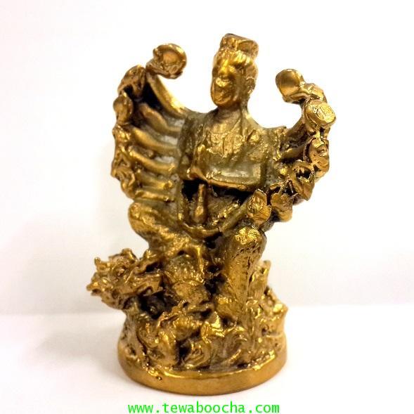 เจ้าแม่กวนอิมพันมือพระสหัสสหัตถ์สหัสสเนตรอวโลกิเตศวร ประทับหลังมังกร เนื้อทองเหลืองสูง7ซม.ฐาน3.5ซม. 1