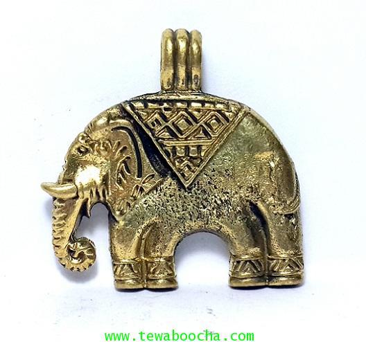 จี้แผ่นพญาช้างฉัททันต์โพธิสัตว์(พระพุทธเจ้าเสวยชาติ)เนื้อทองเหลืองสูง2.5 ซม. กว้าง 2.5ซม.