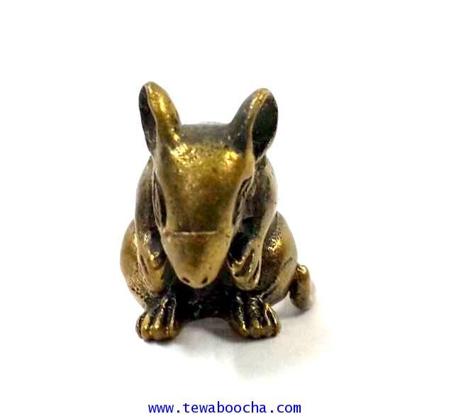 หนูมงคลของมงคลบูชาปีนักษัตรผู้เกิดปีชวด เนื้อทองเหลืองสูง1.5ซม.ฐาน1ซม./นำไปกรอบห้อยคอได้ 4