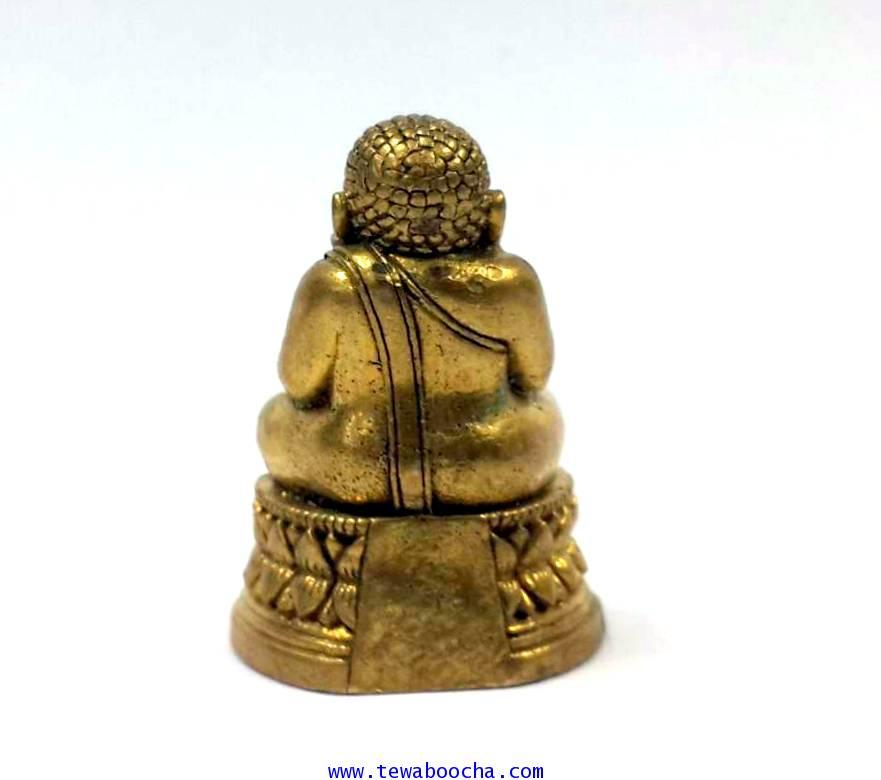 พระสังขจายณ์อุ้มพุงบันดาลความร่ำรวยโชคดีด้านการเงินรูปหล่อลอยองค์เนื้อทองเหลืองสูง2.5ซม.ฐาน1.5ซม. 2