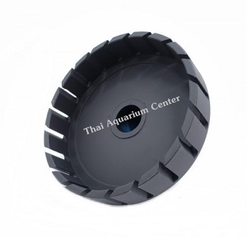 สะดือบ่อเทียม ขนาดหน้าจาน 7 นิ้ว ท่อ PVC 1.5 นิ้ว แบบตัดเฉียง ชุบสีดำ 1