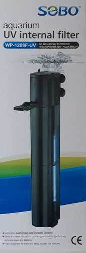 SOBO WP-1208F-UV ปั้มน้ำพร้อมกระบอกกรองในตู้พร้อมหลอดยูวีฆ่าเชื้อโรค สำหรับตู้ปลาขนาด 24 นิ้วขึ้นไป