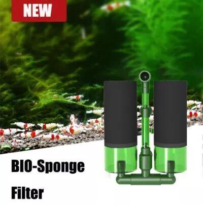 QANVEE QS-100A Bio Sponge Filter กรองฟองน้ำพร้อมช่องใส่วัสดุกรอง 100 กรัม แบบติดข้างตู้ปลา ขนาดไม่เก