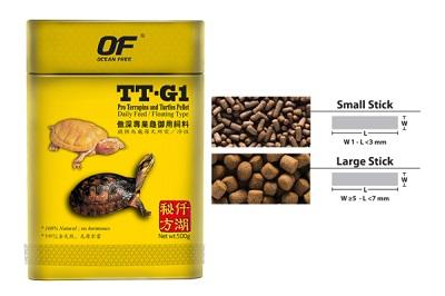Pro Terrapins and Turtle TT-G1 อาหารเต่า ตะพาบ เกรดพรีเมี่ยม คุณภาพสูง OF OCEAN FREE 60 g. (เม็ดขนาด