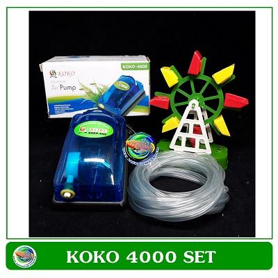 ปั้มลม 1 ทาง KOKO 4000 ปั้มออกซิเจน สำหรับเลี้ยงกุ้ง ปลา คุณภาพดี พร้อมกังหันน้ำสีสวย
