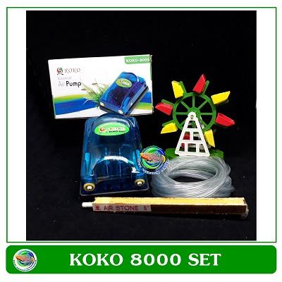 ปั้มลม 2 ทาง KOKO 8000 ปั้มออกซิเจน สำหรับเลี้ยงกุ้ง ปลา คุณภาพดี พร้อมกังหันน้ำและหัวทรายแท่ง 6 นิ้
