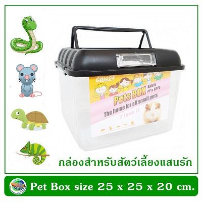 Pets Box กล่องพลาสติกใสทรงสี่เหลี่ยมจตุรัส ขนาด 25 x 25 x 20ซม