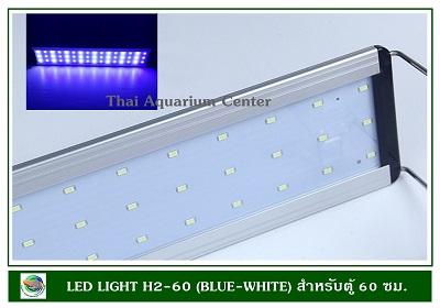 โคมไฟ LED สีขาว-ฟ้า H2-60 สำหรับตู้ปลาขนาด 60 ซม.ปรับได้ 3 แบบ