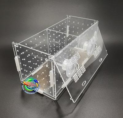 กล่องอคริลิคแยกเลี้ยงปลา กุ้ง ในตู้ปลาใหญ่ แบบจุกยาง ขนาด 2 ช่อง Acrylic Aquarium Fish Tank Box 2