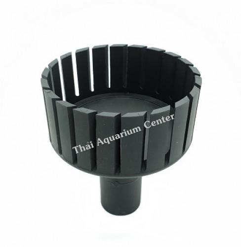 สกิมเมอร์ + สะดือบ่อเทียม ขนาดหน้าจาน 5 นิ้ว ท่อ PVC 1 นิ้ว แบบตัดเฉียง ชุบสีดำ 3