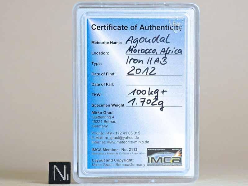 อุกกาบาต ชนิด AGOUDAL (display box + certificate) 1