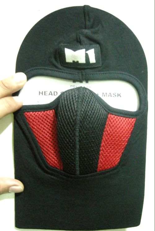 หมวกไอ้โม่ง ยี่ห้อ M1 อย่างดี สีแดงดำ มีกรองในตัว 3