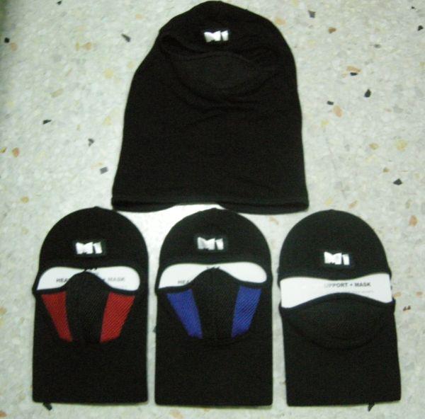 หมวกไอ้โม่ง ยี่ห้อ M1 อย่างดี สีแดงดำ มีกรองในตัว 4