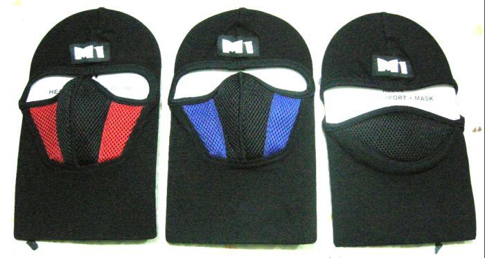 หมวกไอ้โม่ง ยี่ห้อ M1 อย่างดี สีแดงดำ มีกรองในตัว 5