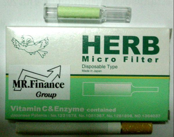 ที่กรองบุหรี่ Herb มีไส้ฟองน้ำในตัว แบบใช้แล้วทิ้ง ( ชาเขียว )