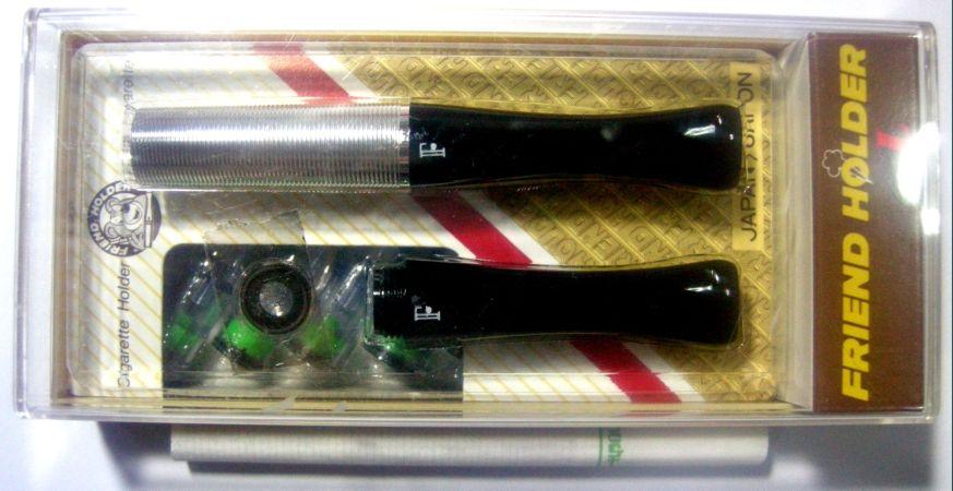 ที่กรองบุหรี่ Friend Holder (L) แบบหัวยาว ดีดไม่ได้ ชุดกล่อง ( สีเงิน ลายเกลียว  )