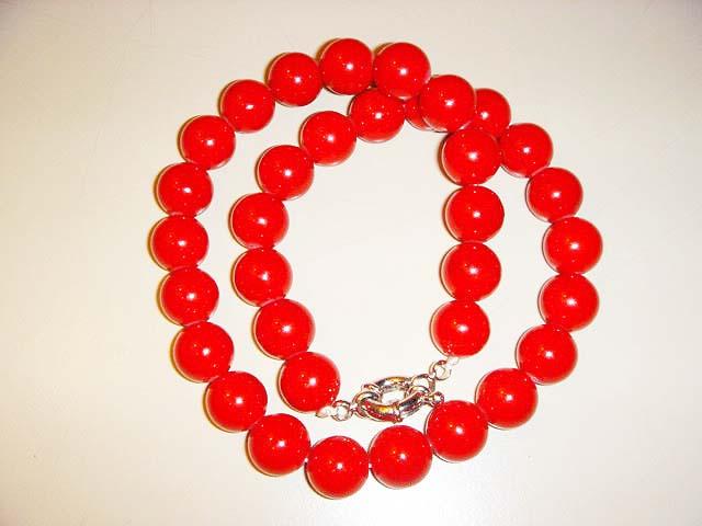 สร้อยคอ ปะการังแดง ย้อมสี (red coral necklace)