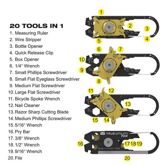อุปกรณ์พวงกุญแจเครื่องมือท่องเที่ยว อเนกประสงค์ 20 in 1 (ฟรีค่าจัดส่ง) 7