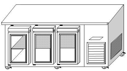 ตู้แช่นอน 3 ประตู ฝาทึบ ฟรีส ระบบเดินท่อความเย็น 2.2 ม