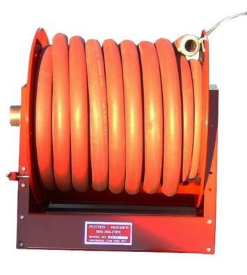 สายยางส่งน้ำดับเพลิงรถดับเพลิง 1 นิ้วยาว 45.7 เมตร พร้อมกงล้อและหัวฉีดรุ่น 2839 ยี่ห้อ Potter Roemer
