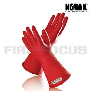 ถุงมือยางป้องกันไฟฟ้าแรงสูง Class 1 - 10,000V Tested, Straight cuff (Red) ยี่ห้อ NOVAX