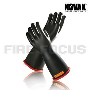 ถุงมือป้องกันไฟฟ้าแรงสูง Class 4 - 40,000V Tested, Straight cuff (Black Red) ยี่ห้อ NOVAX