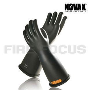 ถุงมือป้องกันไฟฟ้าแรงสูง Class 4 - 40,000V Tested, Straight cuff (Black) ยี่ห้อ NOVAX