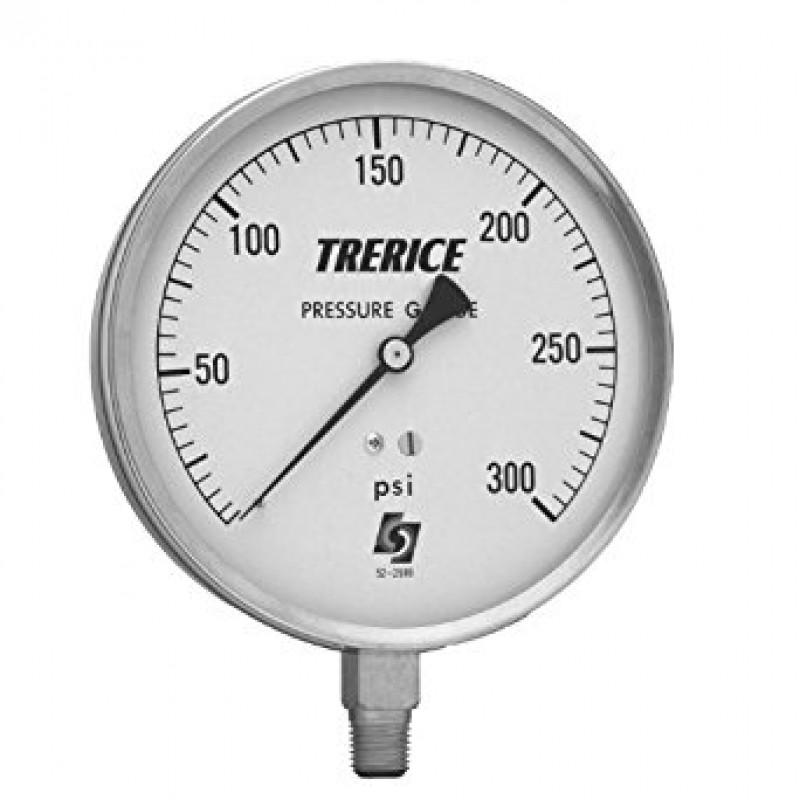 TRERICE Pressure Gauge Model 620B case size 4-1/2 inch. , stainless steel case, 1/4 inch., NPT,