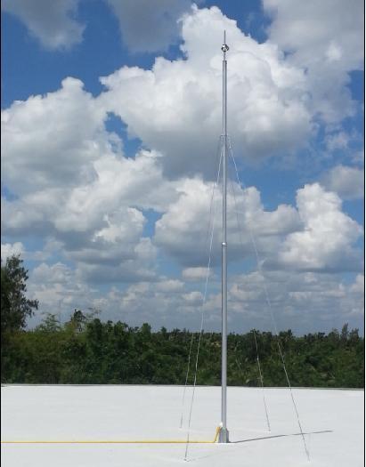 งานเสาเหล็กชุปกัลวาไนซ์พร้อมสลิง 8 เส้น สูง 12 m.สำหรับติดตั้งหัวล่อฟ้า