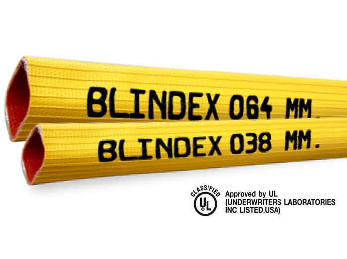 สายส่งน้ำดับเพลิงชนิดยางสังเคราะห์ไนไตรด์ 4 ชั้นเสริมเส้นใย PVC ยี่ห้อ Blindex มาตรฐาน FM