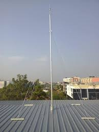เสาเหล็กชุปกัลวาไนซ์พร้อมสลิง 4 เส้น สูง 10 m.สำหรับติดตั้งหัวล่อฟ้า
