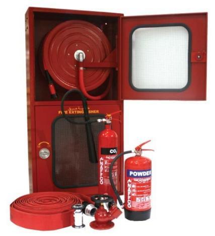 ตู้เก็บสาย Hose Reel และอุปกรณ์ดับเพลิงสองประตู  100x(90+60)x35 cm.