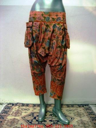 กางเกงแฟชั่น ทรงขี่ม้า ผ้าลายไทย 7