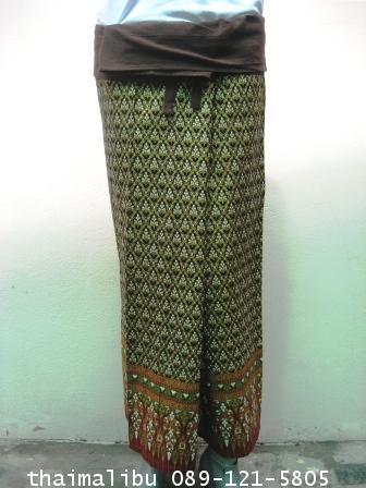 กางเกงเล ขายาว ผ้าลายไทย