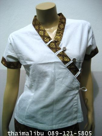 เสื้อผ้าฝ้าย แถบผ้าลายไทย แขนสั้น